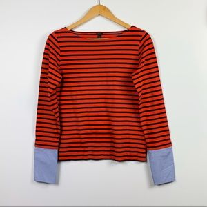 J. CREW boatneck top w/mock shirt sleeves size S